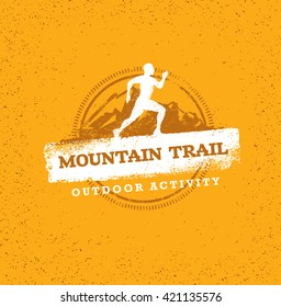 Outdoor Adventure Trail Creative Vector Design Concept. Run Bike Summer Extreme Activity Event Sign On Grunge Background