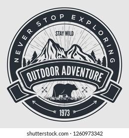 Outdoor Adventure vintage label, badge, logo or emblem. Vector illustration.