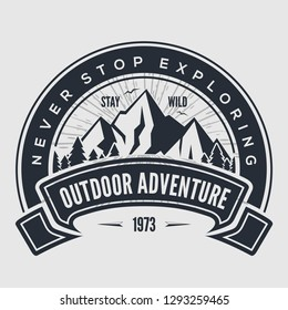 Outdoor Adventure vintage label, badge, logo or emblem. Vector illustration.