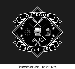 Outdoor adventure white on black is a vector illustration about discovering and exploring