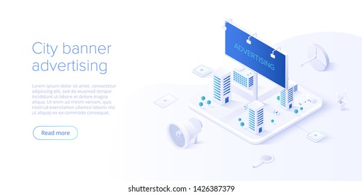 Outdoor advertising campaign concept in isometric vector design. Offline or interruption marketing with city banner or billboard on cityscape background.