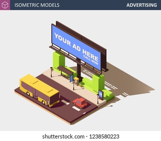 Outdoor Advertising Concept. Its includes Billboard, Bus Stop with Infobox, Ticket Machine, Yellow City Bus, Personal Car. Vector Isometric Illustration.