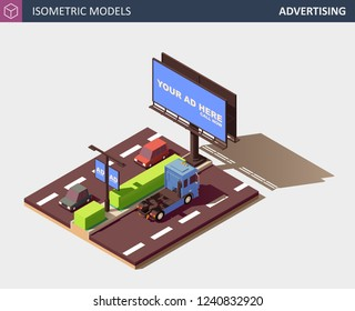 Outdoor Advertising Concept Representing Media Types and Placement Locations. Its includes Billboard, Street Lamp Post Advert Banner, Personal Cars and Commercial Truck. Vector Isometric Illustration.