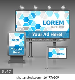 Outdoor advertising design for company with blue geometric shapes. Elements of stationery.