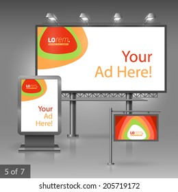 Outdoor advertising design for company with color circles. Elements of stationery.