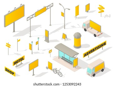 Outdoor advertising media Isometric set