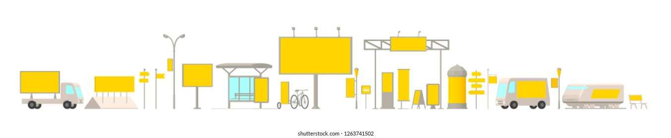 Outdoor advertising media set. Horizontal banner