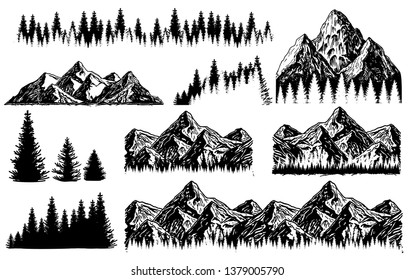 Outdoor Art Hand drawn nature mountains landscape vector illustration. Elements, mountains and trees. Travel,  adventure, nature symbol. Hand drawn engraving style for tattoo,  print, poster, sticker.