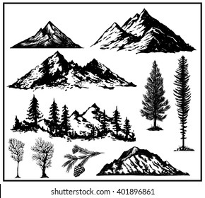 Outdoor Art Hand drawn nature pines cones mountains landscape black and white vector illustration board
