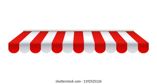 Outdoor awnings. Red and white sunshade - stock vector.
