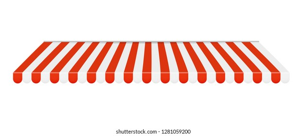 Outdoor awnings Red and white sunshade. Vector Illustration EPS10