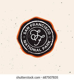 Outdoor badge. Exploring / nature themed vintage logotype with grunge effect. National parks / outdoor labels