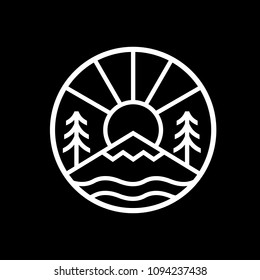 Outdoor badge simple circle logo icon in outline monoline line style with sun, trees, mountain, and lake