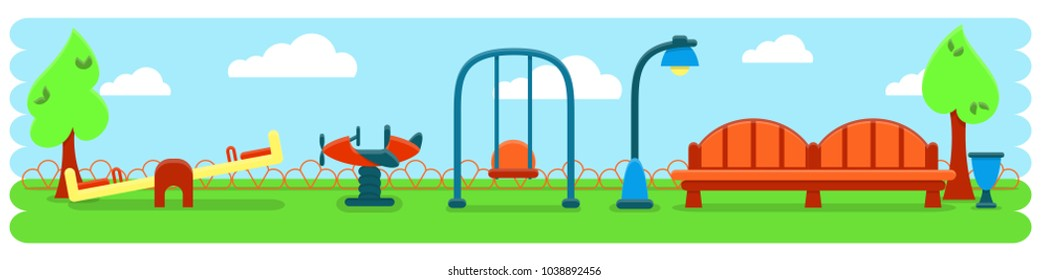 Outdoor banner with kids playground equipment and bench. Flat style vector illustration. Eps10. Suitable for childrens books