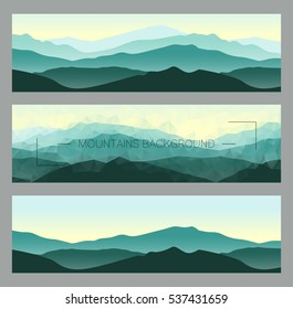 Outdoor banners with mountain ridges. Horizontal nature backgrounds. Vector illustration for hiking and travelling.