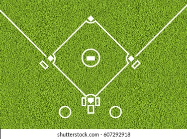 Outdoor baseball white line and the green grass field background
