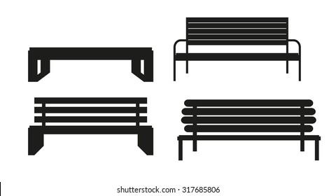 Outdoor Bench Icon Set Vector Illusrtarion Eps10