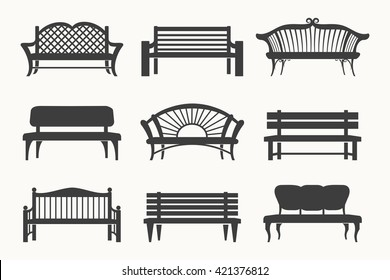 Outdoor benches black line icons vector illustration