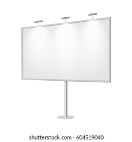 Outdoor board with single stand, in vector. Blank billboard with empty copy space, stand on one bar support. Highlighted with lamps, in perspective. White mockup with frame for message, commercial.