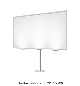 Outdoor board with single stand, in vector. Blank billboard with empty copy space, stand on one bar. Highlighted with lamps, in perspective. White mockup with frame for commercial or presentation.