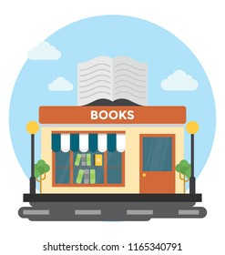 An outdoor bookshop or a library outlet on commercial area