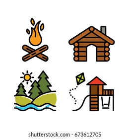 Outdoor, camping and forest park icon set