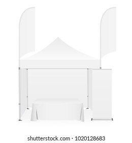 Outdoor canopy tent with two sided banner flags, demonstration table and roll-up stand. Equipment for business or organization stands during the outdoor events. Vector illustration