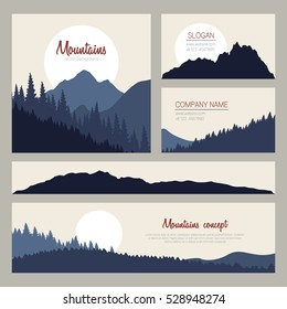 Outdoor cards design with mountains on background. Set of stylish business card templates. Nature identity design.