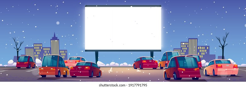 Outdoor cinema, drive-in movie theater with cars on open air parking at winter. Vector cartoon landscape of night city with snow, glowing blank screen and automobiles
