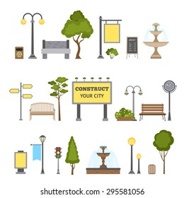 Outdoor and city landscape design object set isolated vector illustration