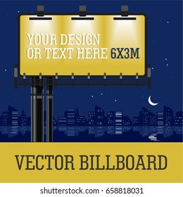 outdoor commercial Vector urban Advertising billboard banner with night town Skyscraper and ocean  background. Can add your design Advertising or text