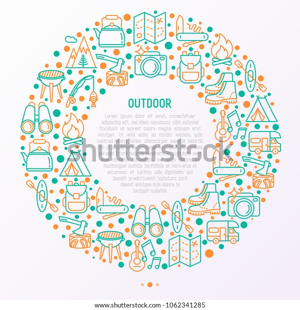 Outdoor concept in circle with thin line icons: mountains, backpack, uncle boots, kettle, axe, map, swiss knife, canoe, camera, fishing rod, binoculars. Modern vector illustration for print media.