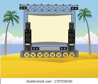 Outdoor concert stage on the beach. Outdoor summer festival concert