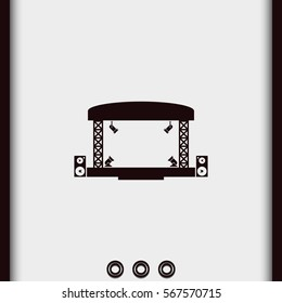 Outdoor concert stage vector icon isolated on grey background. Simple flat music equipment pictogram. Podium with spotlights illustration.