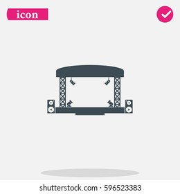 Outdoor concert stage vector icon isolated on gray background. Simple flat music equipment pictogram. Podium  symbol