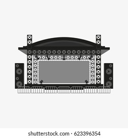 Outdoor concert stage vector icon isolated on white background.