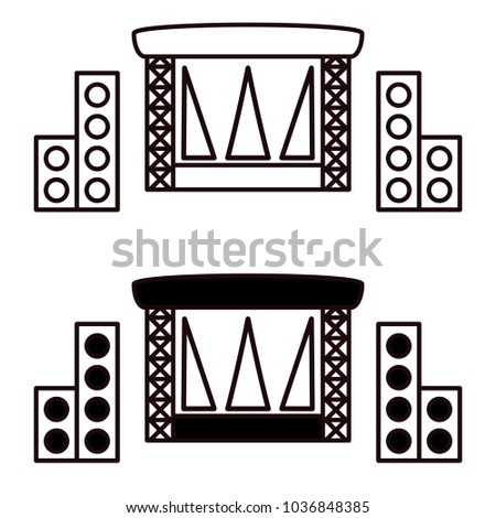 Outdoor Concert Stage Vector Icon Isolated On White Background Simple Flat Music Equipment Pictogram