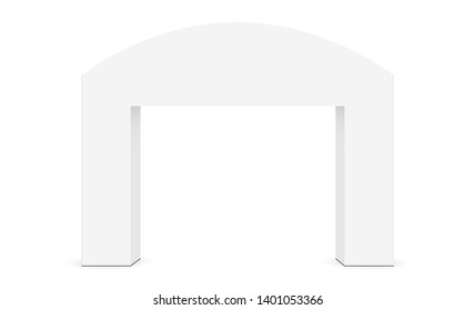 Outdoor event arch mockup isolated on white background - front view. Vector illustration