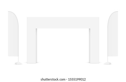 Outdoor event rectangular arch with advertising flags isolated on white background. Vector illustration