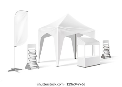 Outdoor exhibition tent, product presentation pop-up marquee mockup with banner flag, display shelves, stand booth. Mobile company promotion pavilion, point-of-sale temaplte. Vector illustration