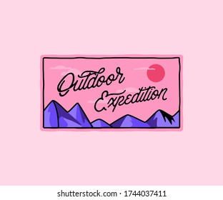 Outdoor expeditions, pink mountain retro badge, horizontal label. Rustic lines, vintage style