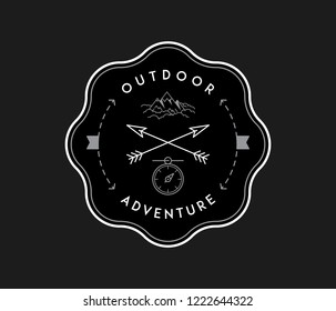 Outdoor exploration adventure white on black is a vector illustration about discovering and exploring