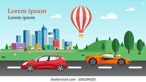 outdoor exterior design with buildings, car, balloon, park. creative website banner for real estate, ad design for social media post.