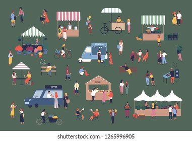 Outdoor fair, market or street food festival. Men and women walking between stalls, kiosks and vans, buying products, talking to each other. Colorful vector illustration in flat cartoon style.