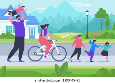 Outdoor family rest flat vector illustration. Happy mother, father, sons and daughter cartoon characters. Parents and children playing outside, spend time together. Fresh air games, active recreation