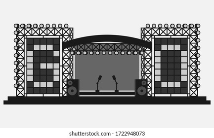 Outdoor festival stage with LED screens black and white vector icon.