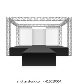 Outdoor festival stage, podium, metal truss system. Vector illustration.