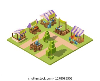 Outdoor food market. Isometric local farm grocery marketplaces with vegetables fruits meat and fish farmers country store vector. Farm market shop, area agriculture grocery store illustration
