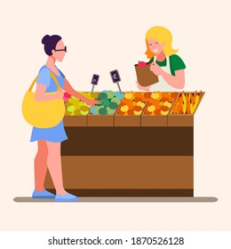 An outdoor food market. A young woman buys vegetables and fruits from a saleswoman. Flat illustration.  Vector