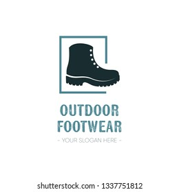 Outdoor footwear logo template design with single boot